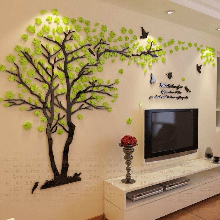 New Arrival Crystal Acrylic DIY 3D Wall stickers Red Tree Modern ...