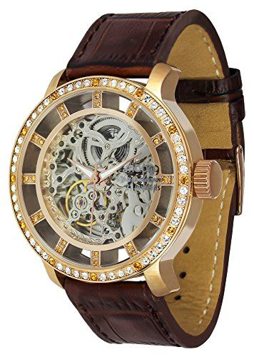 Moog Paris Chameleon Women / Men Automatic Watch with Skeleton Dial, Brown Genuine Leather Strap