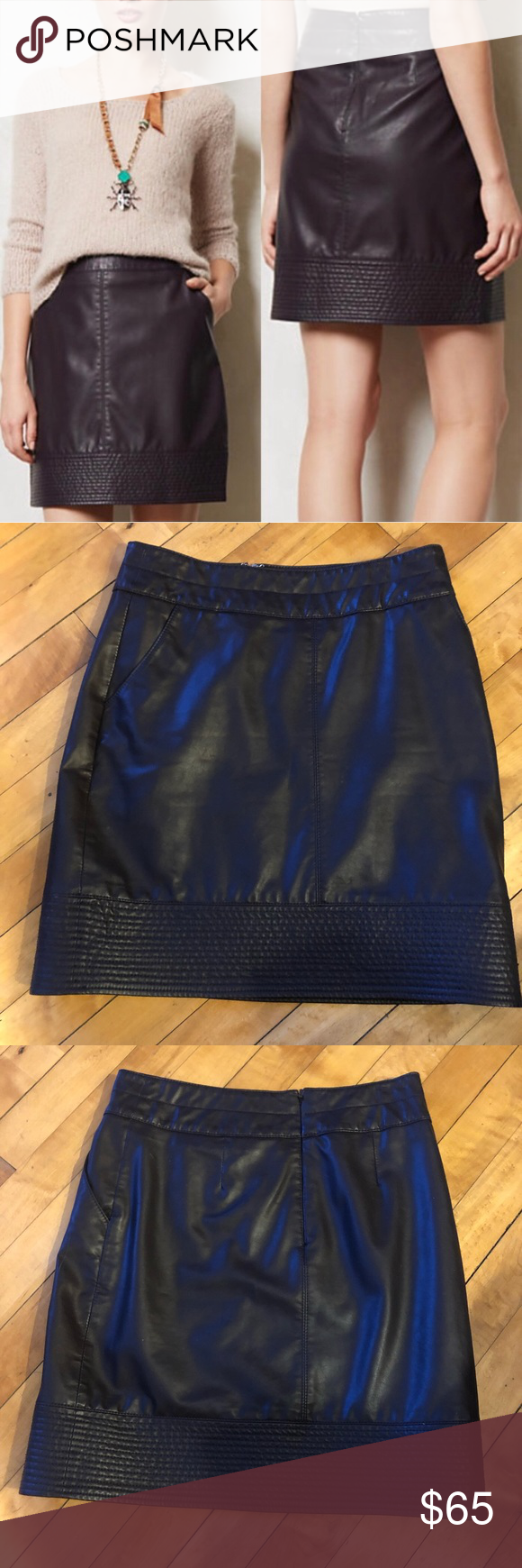 "bdaecf514e Vanessa and Virginia vegan leather skirt plum Vegan ""leather""skirt by  Vanessa & Virginia Size 0 Zipper closure in back 2 pockets 14"" across  waist, ..."
