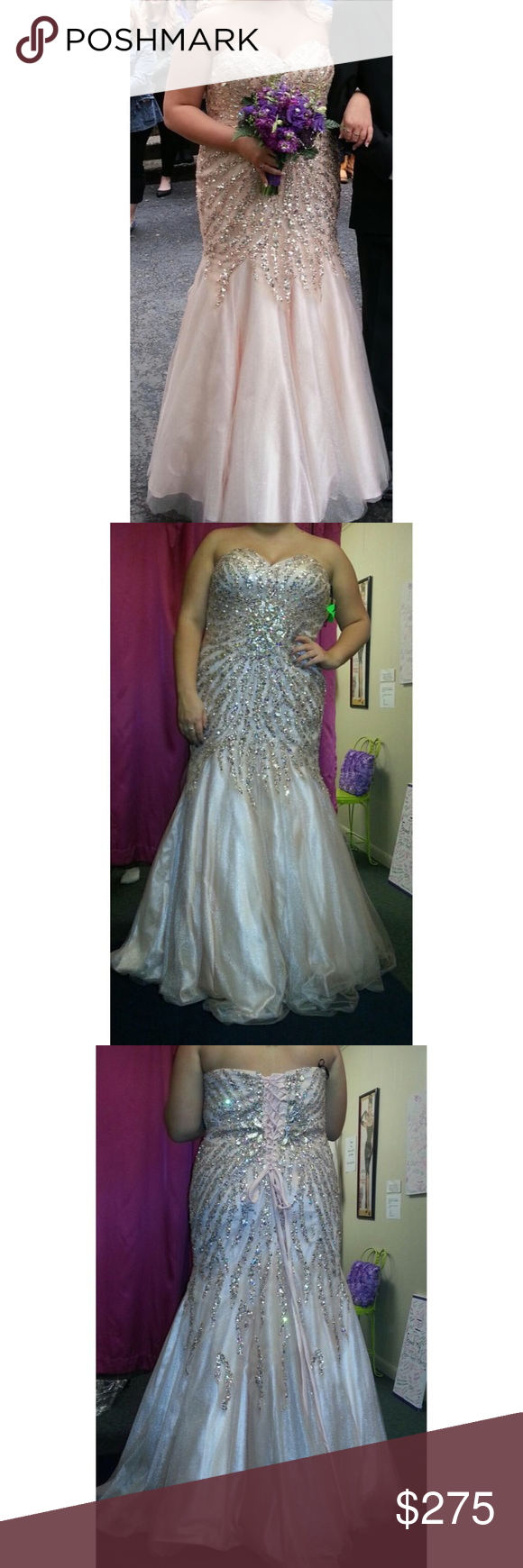 Champagne fit and flare prom gown worn once champagne colour
