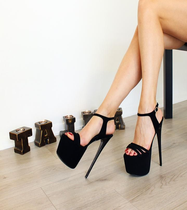 cab1e4a24 19 cm Black Suede Ankle Strap High Heels in 2019 | Heels | Heels ...