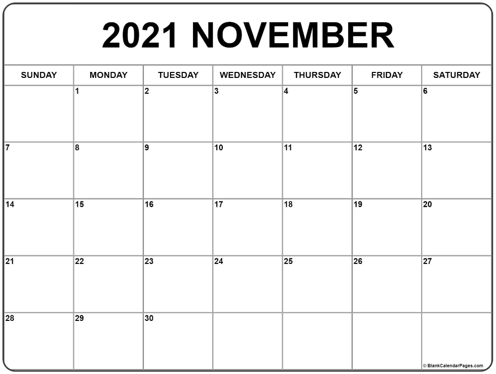 November 2021 Calendar Free Printable Monthly Calendars In 2020 Monthly Calendar Printable Calendar Printables Free Printable Calendar