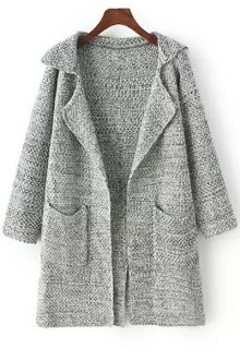 Hooded Lamb Wool Pocket Long Sleeve Cardigan GRAY: Sweaters | ZAFUL