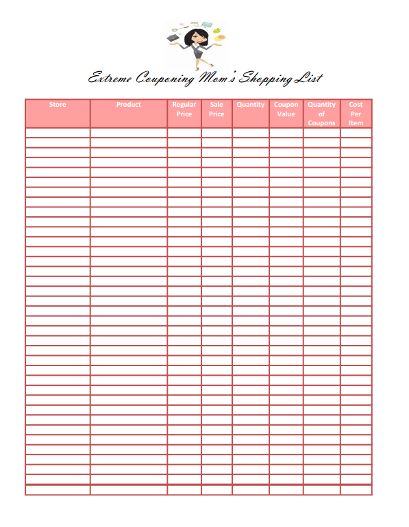 Super Saver Shopping List  Extreme Couponing Printable Shopping