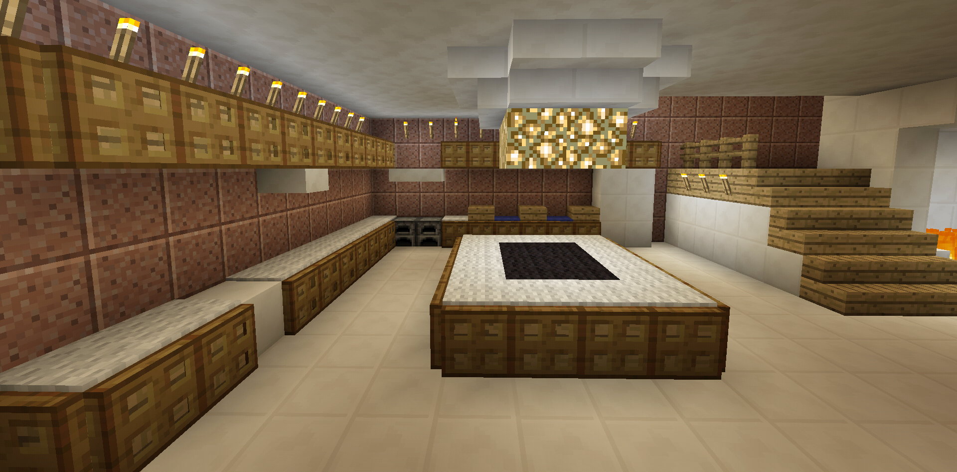 Minecraft kitchen stove sink fridge