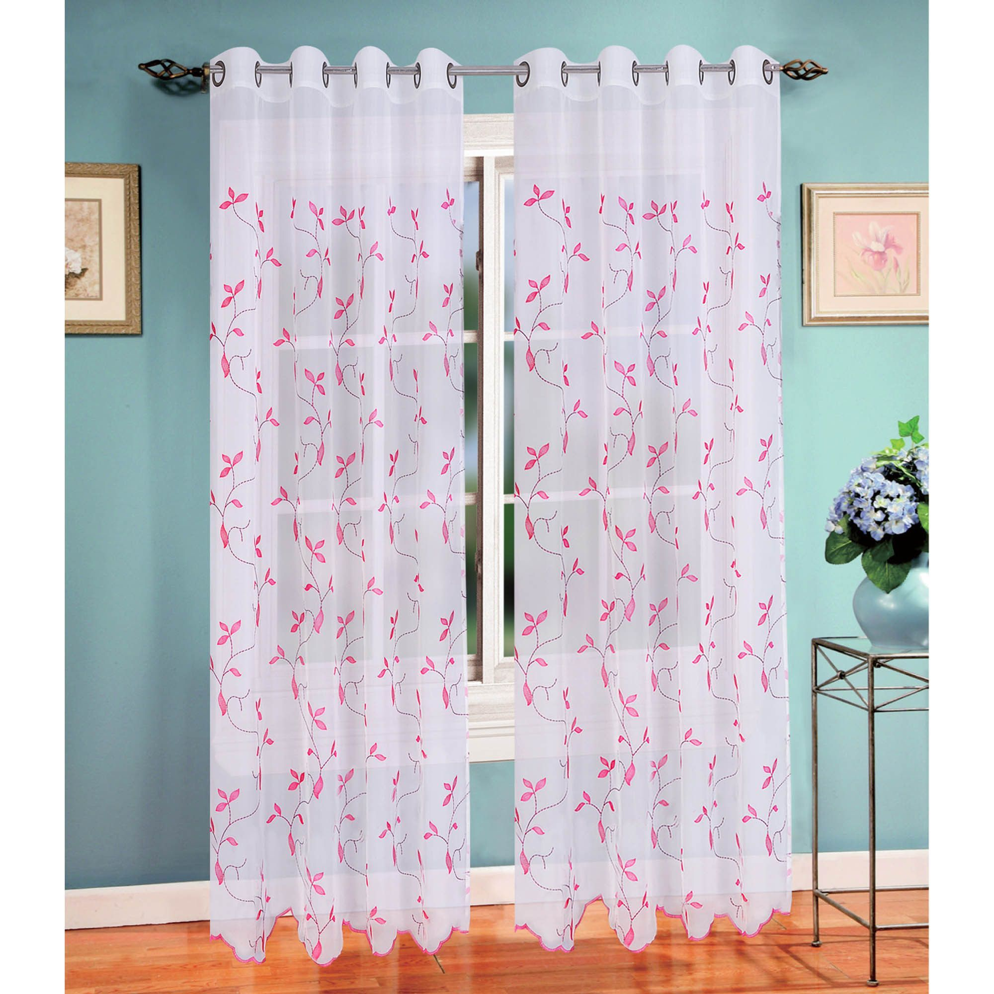 Window Elements Multicolor Sheer Extra Wide Birch Leaf Embroidered 84 Inch Curtain Panel