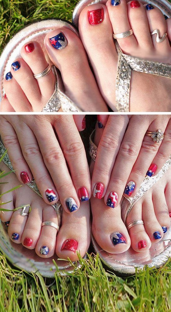 17 Fourth of July Toe Nail Designs for Summer | Pinterest | Toe nail ...