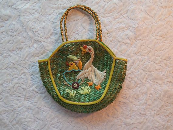 Vintage Woven Straw Easter Basket Purse China Duck or Goose with Chick