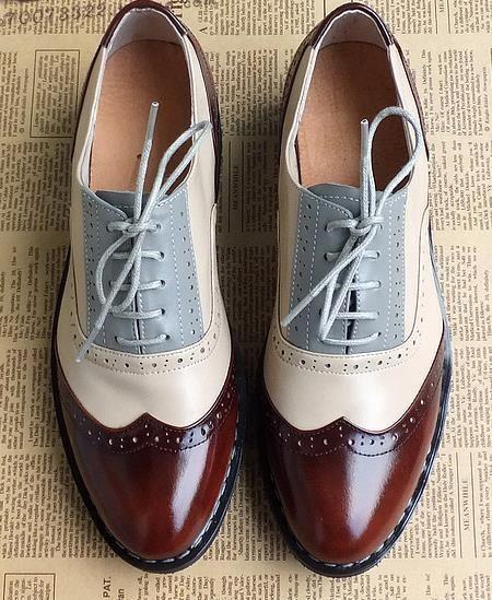 7b96275b6c4 2015 estilo británico tallada mano a medida vintage zapatos oxford para para  cuero genuino Color matching talones planos con cordones hombres