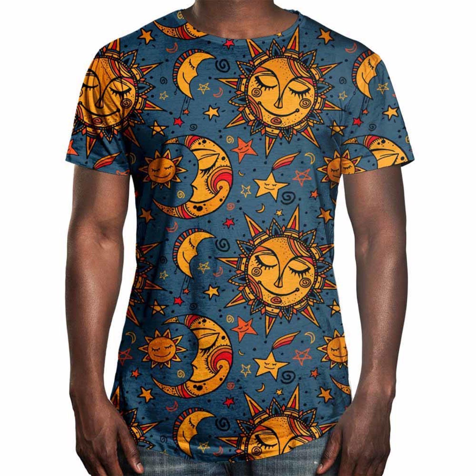 3a47abbe6 Camiseta Longline Over Fame Sol e Lua Azul em 2018
