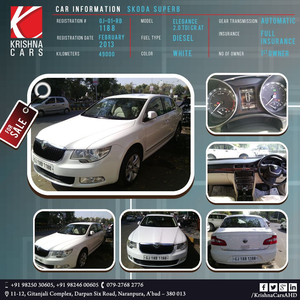 Car Information Skoda Superb Registration Gj 01 Rb 1188
