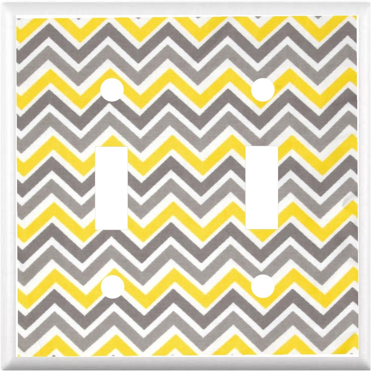 Chevron zig zag Design Yellow and Gray Light Switch Cover Plate or ...