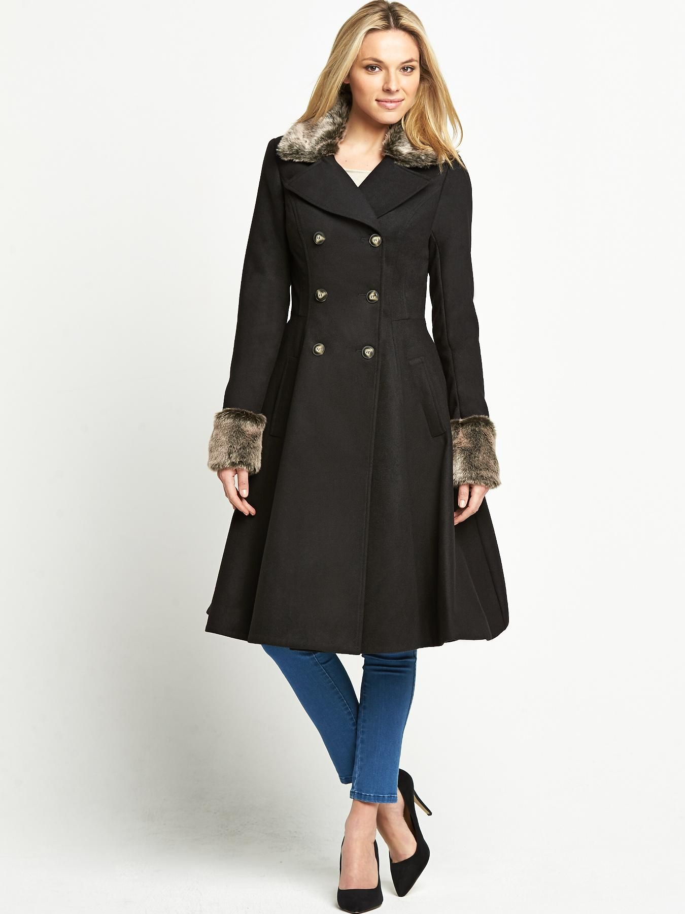 Savoir Fit and Flare Coat with Fur Collar   very.co.uk   Beauty ...