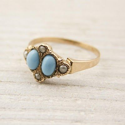 vintage 14k-rose-gold Victorian ring with Persian turquoise and natural pearls from Erstwhile #jewelry