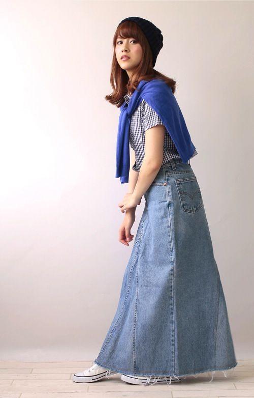 levi's long denim skirt | Long denim skirts | Pinterest | Denim skirt