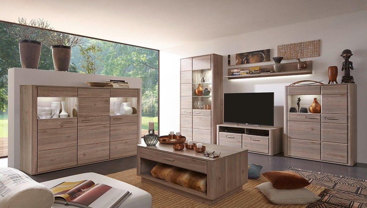 Wohnwand Ravenna Mit Highboard Wohnzimmerschrank Eiche Nelson 20685