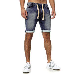 SUBLEVEL Herren Sweat Bermuda mit Aufschlag   Kurze Hose   Bequeme Sweat  Jeans-Shorts f50e3500d4