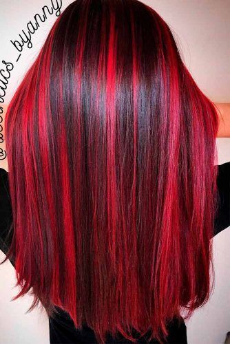 Best Two Color Hairstyles Ideas In 2019 Hairstyles 2u In 2020 Red Hair With Highlights Hair Highlights Hair Color For Black Hair