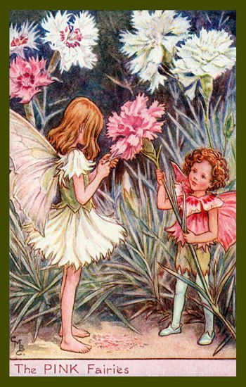 The Pink Fairy by Cicely Mary Barker from the 1920s. Quilt Block of vintage fairy image printed on cotton. Ready to sew. Single 4x6 block $4.95. Set of 4 blocks with pattern $17.95.
