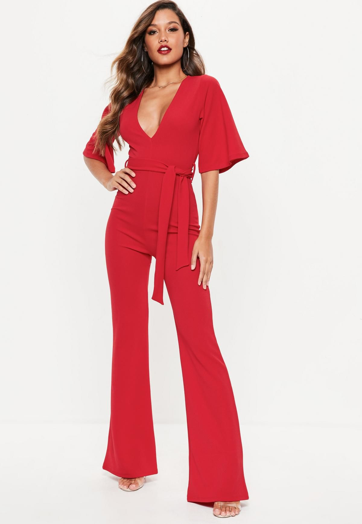 f3f04adc2bc Red Kimono Sleeve Plunge Jumpsuit in 2018