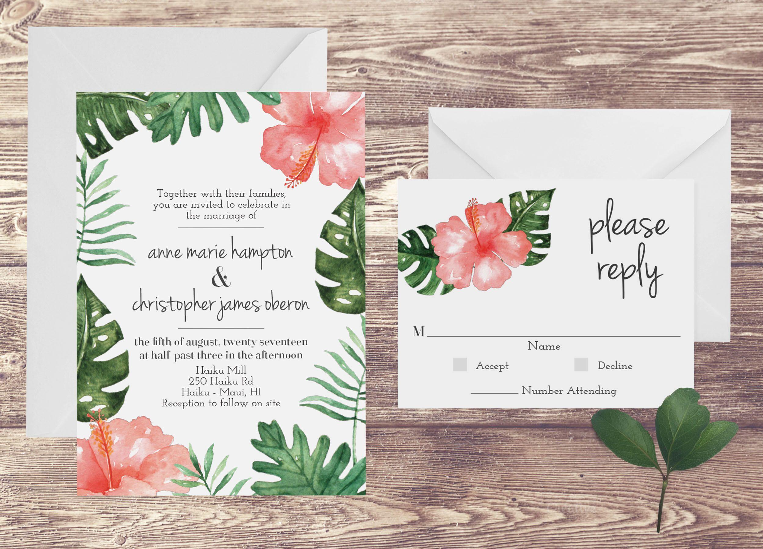 the maui wedding invitation and rsvp set tropical wedding