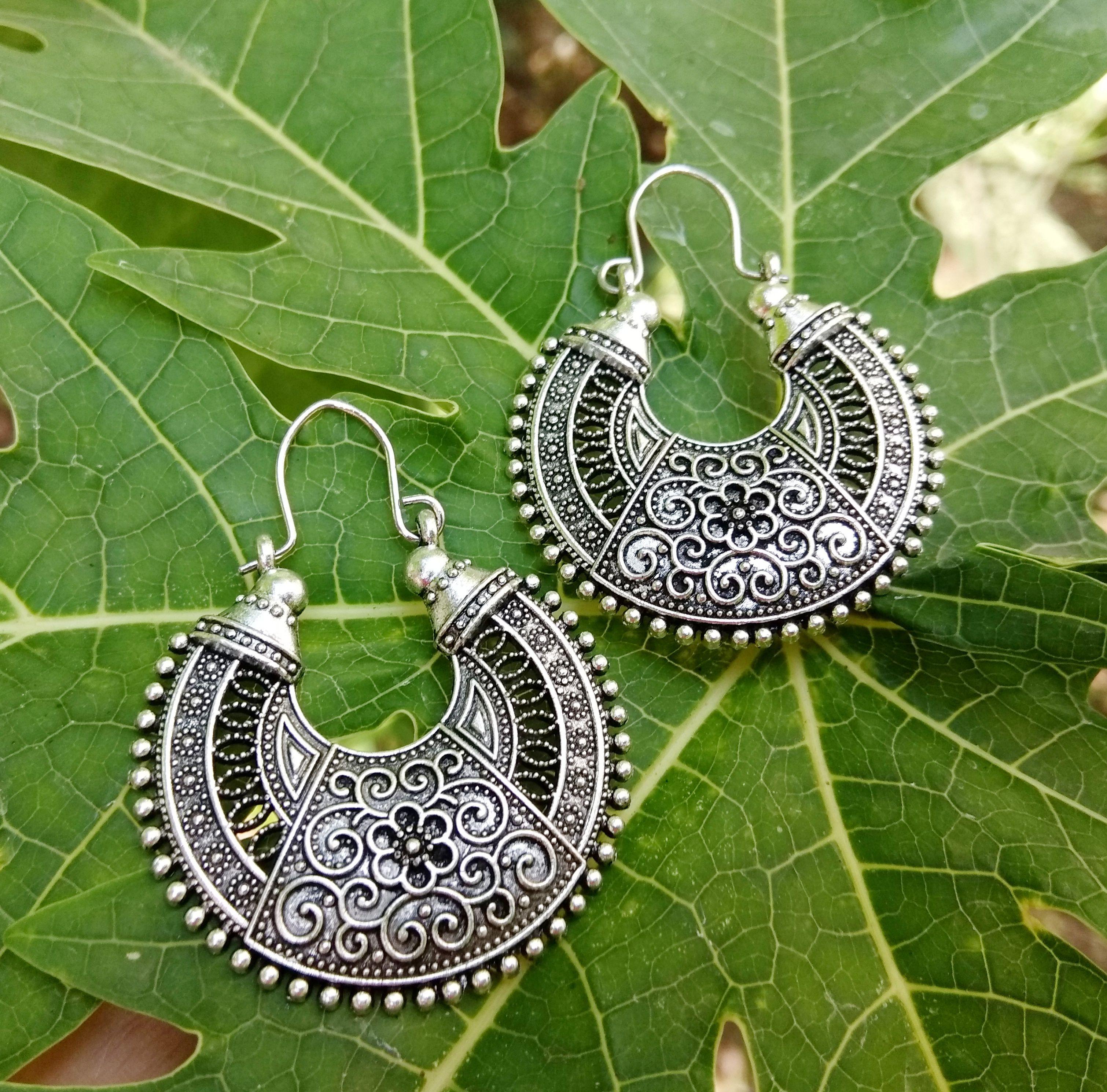 8d78c7bfd Large ethnic antique silver earrings, Indian tribal hoop earrings, Bohemian  dangle earrings, Engraved boho hippie, Vintage style earrings.