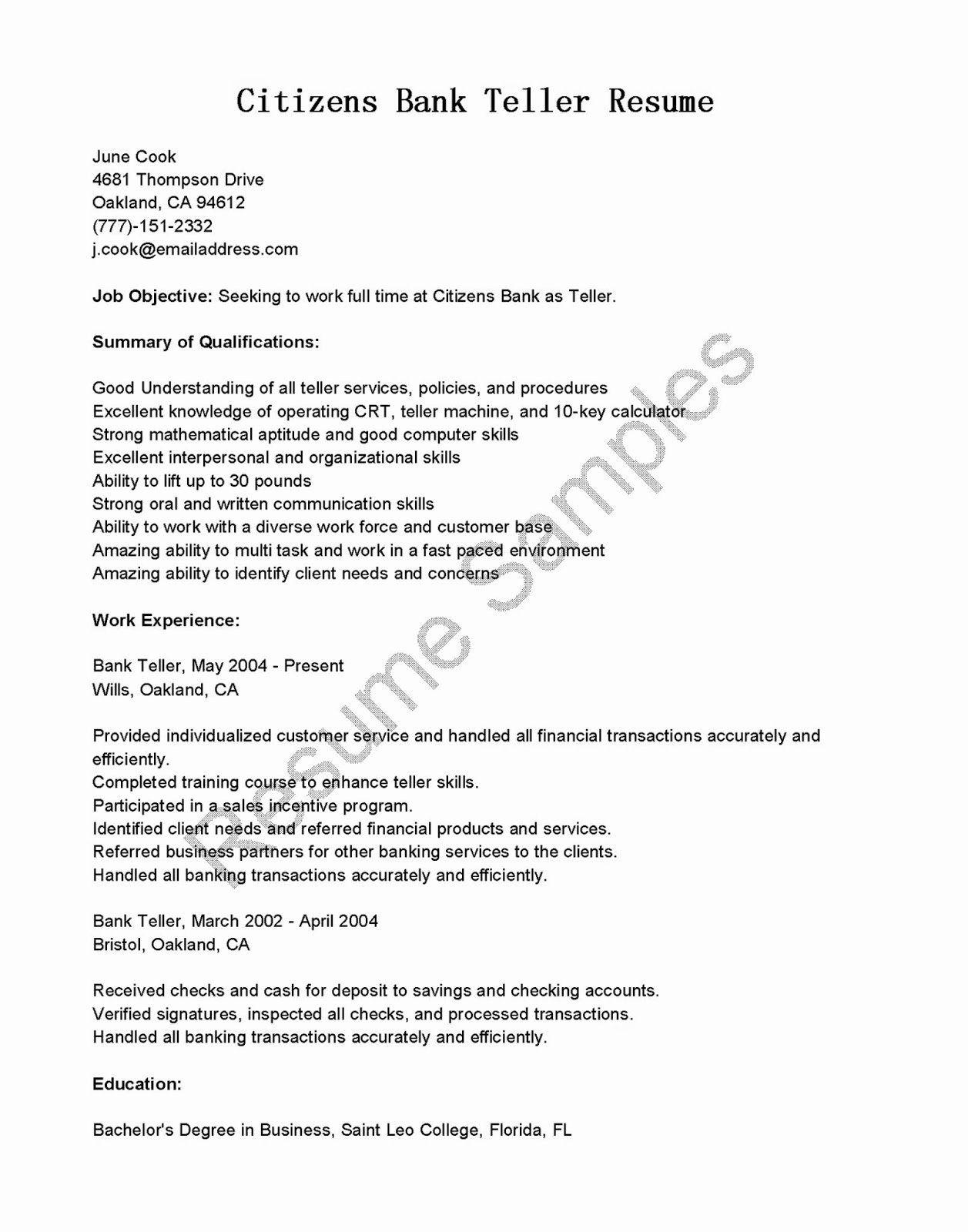 Bank teller duties resume new resume samples citizens bank