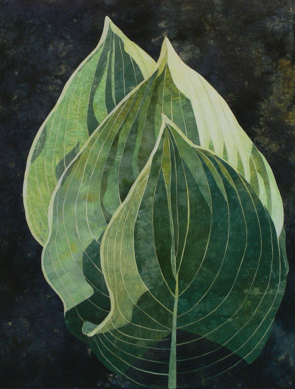 "Act 3, 2010, 24"" x 34"" by Elaine Quehl. in: Art quilts: the natural world of Elaine Quehl. Thread painted."