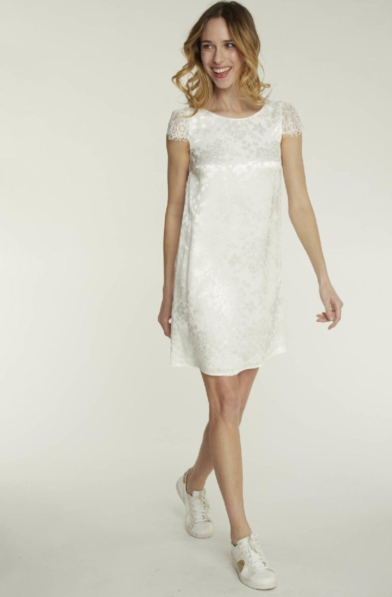 a8a14b306aa Robe de mariée NAF NAF - Robe droite en jacquard avec détail dentelle écru   weddingdress