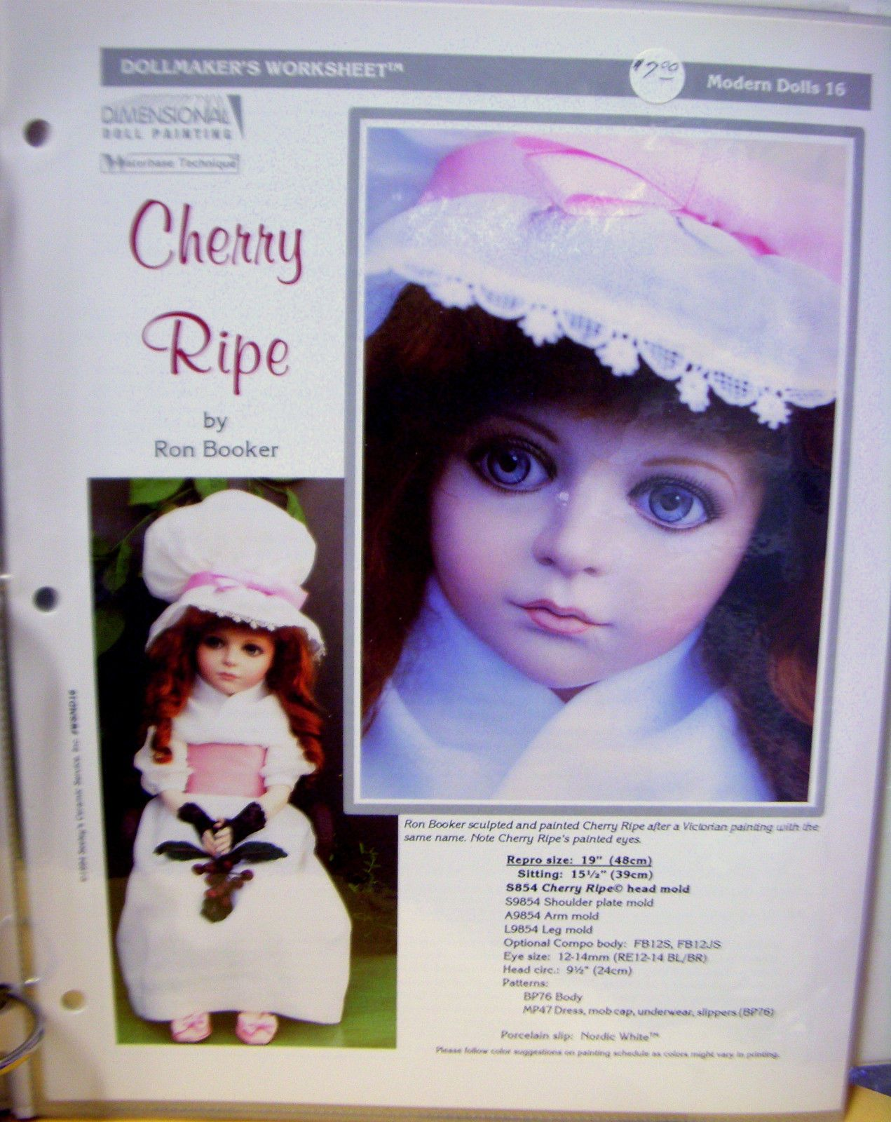 Seeley S Dollmaker S Worksheet Cherry Ripe Modern Dolls