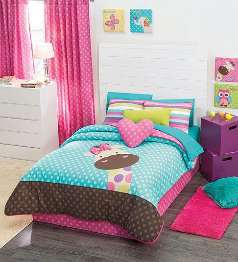 Twin full and queen girls giraffe comforter set and - Complete bedroom sets with curtains ...