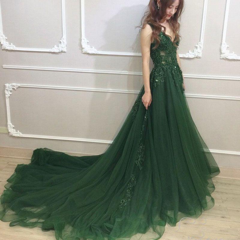Vestidos de noche verde 2018