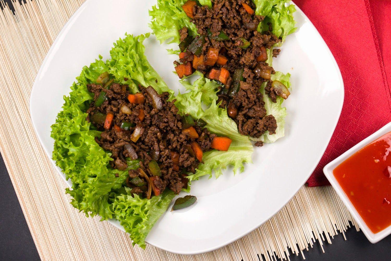 Low Carb Asiatisches Hackfleisch Auf Dem Salatblatt Rezept Low