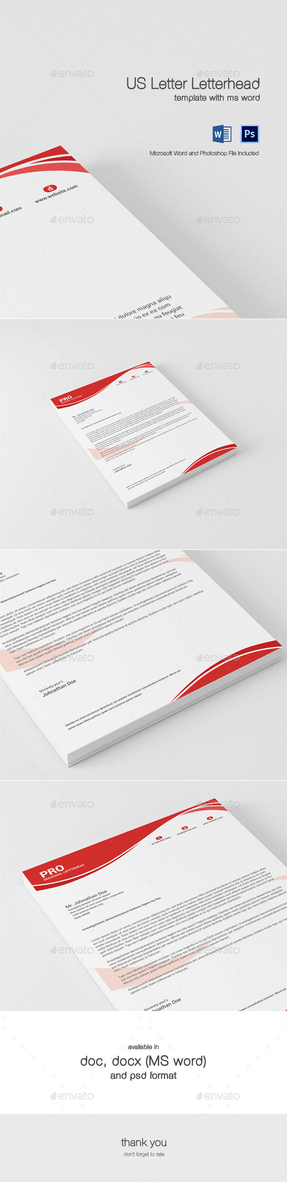 US Letter Letterhead With MS Word