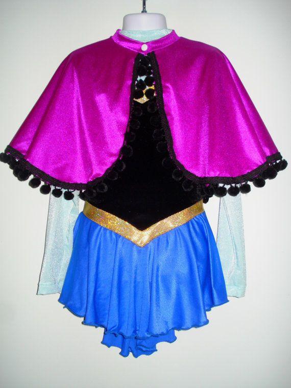 Figure Skating Dress PRINCESS ANNA Inspired Frozen por SeamsByTeri ... 0164bb35607
