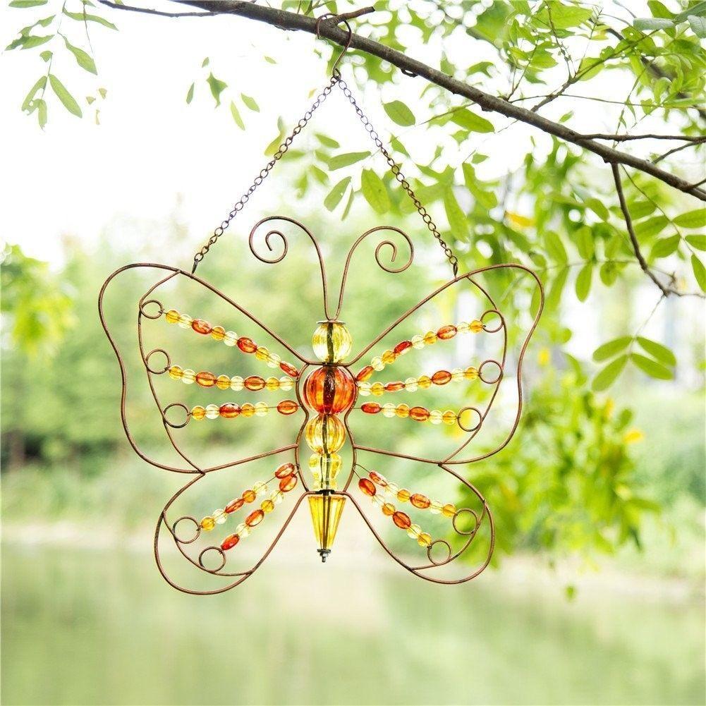 Iron Beaded Butterfly Hanging Wall Décor   sun catchers   Pinterest ...