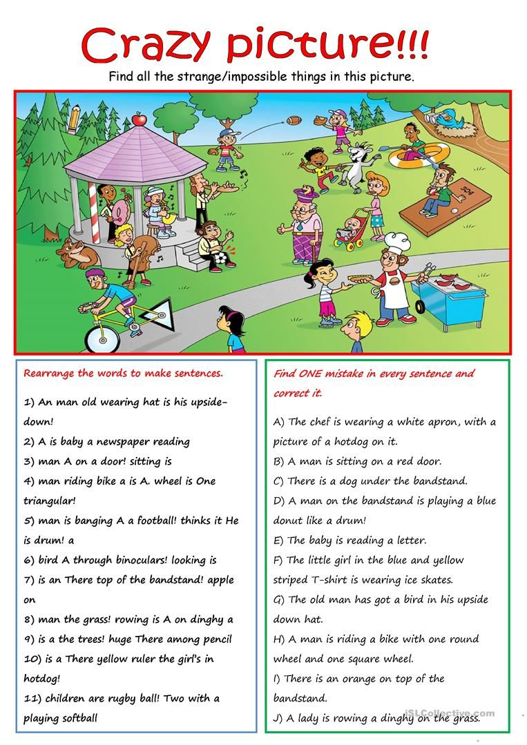 Crazy Scene Worksheet Free Esl Printable Worksheets Made By Teachers English Lessons For Kids Teaching English Grammar English Vocabulary [ 1079 x 763 Pixel ]