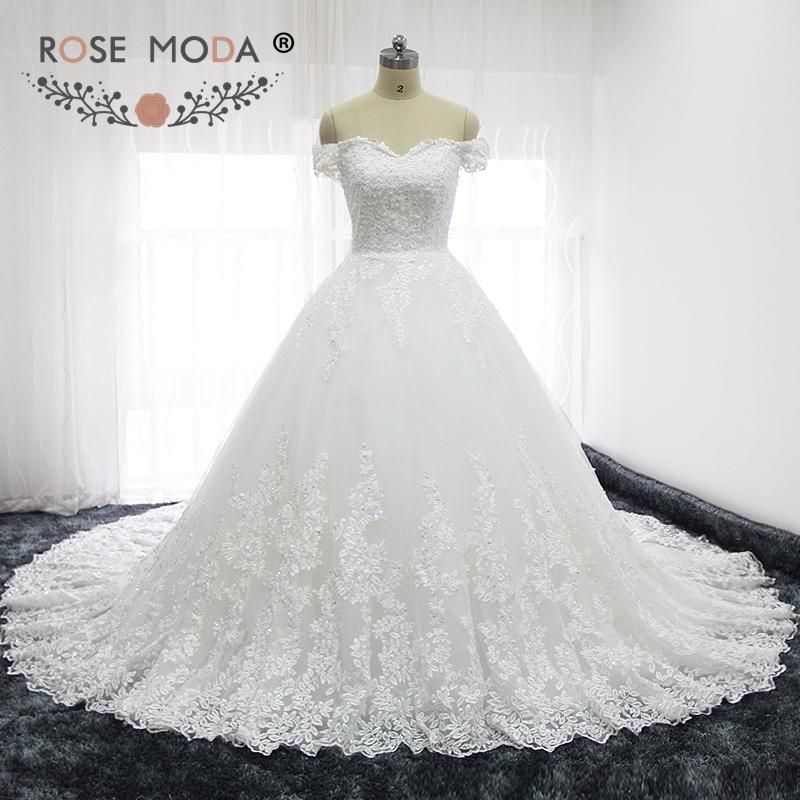 Rose Moda Luxury Off Shoulder French Lace Wedding Dresses Semi Cathedral  Train Princess Wedding Ball Gown Corset Back  mermaidweddinggowns   bridalgowns ... a9910a5062f7