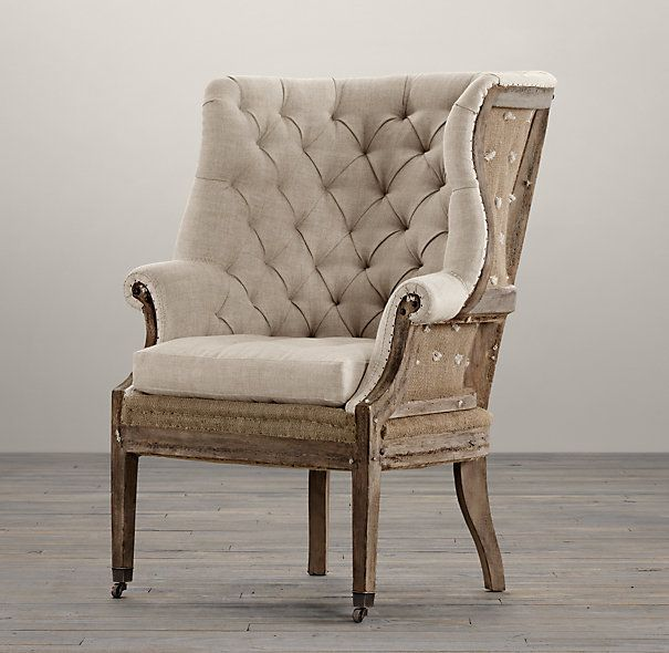 Deconstructed 19th C English Wing Chair Belgian Linen