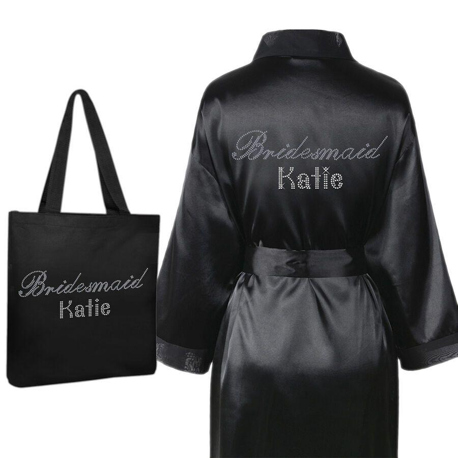 Personalised Crystal Bridesmaid Robe Tote Bag Luxury Wedding Bathrobe Set 2 Ad Affiliate Robe Amp Bridesmaid Robe Bridesmaid Robes Bridesmaid