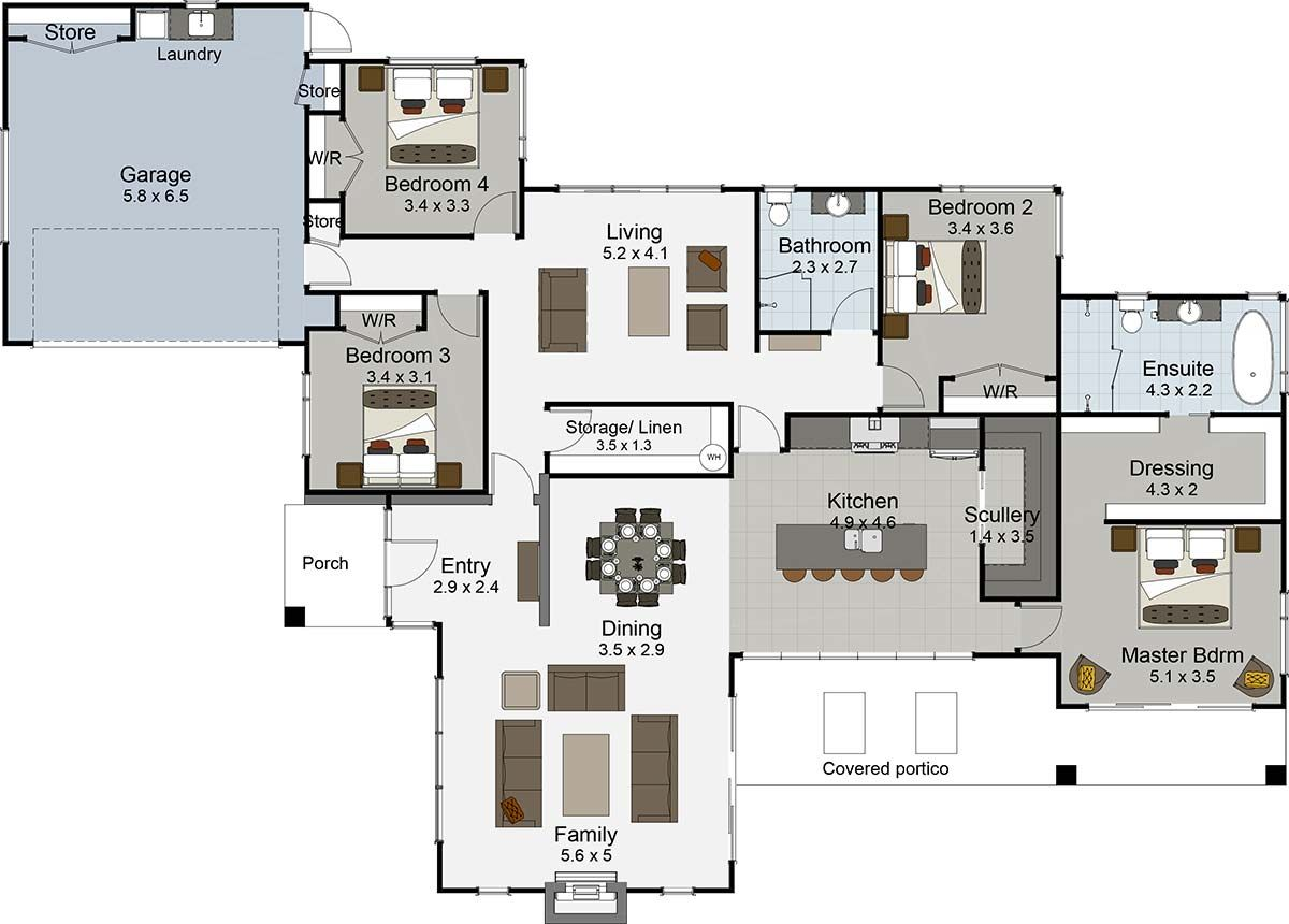 Riverhead | Floor plans, Modern house plans, House plans