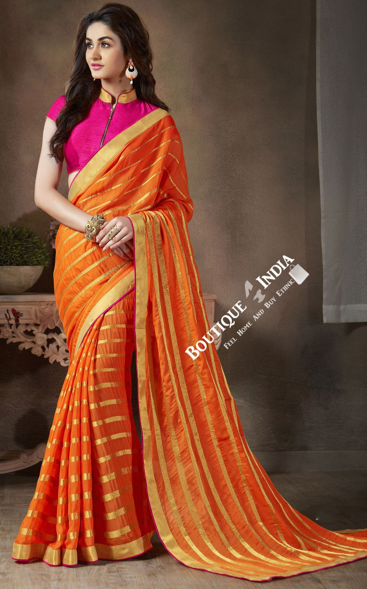 Peach color saree for wedding sarees  net and chiffon with pink purple and golden  lace