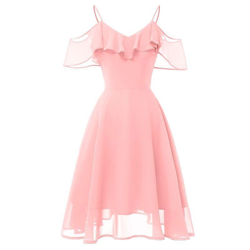 Strapped Flowy Shoulder Chiffon Dress Lace Straps&Ndash; Sexy Affordable Clothing Straps - Fashion Dresses