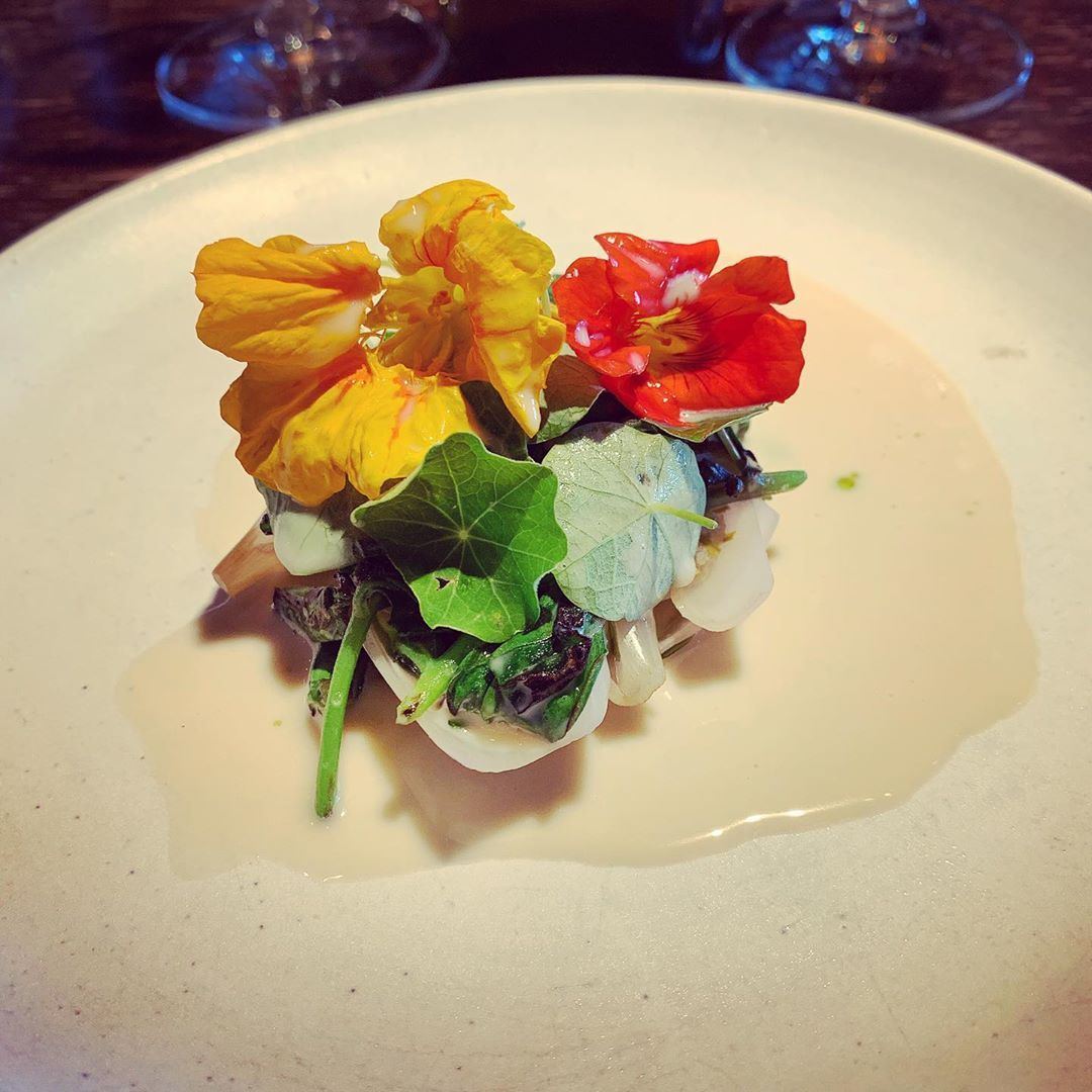 Shallots cooked in beer and honey, paste of gooseberry and spruce, grilled kale, sauce of lacto fermented koji and horseradish juice, shitloads of nasturtium