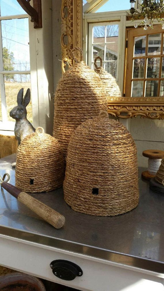 36 Stylish Primitive Home Decorating Ideas: Handmade Bee Skep Primitive French Style Decor Wedding In