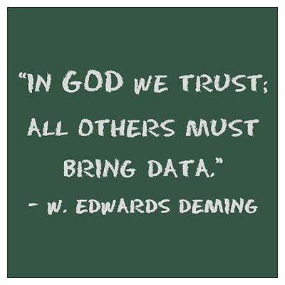 In God We Trust. All others bring data. - W. Edwards Deming.