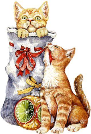 Pin By Viktoria Gruzd On Новый год, животные, птицы. Новогодний натюрморт |  Pinterest | Cat
