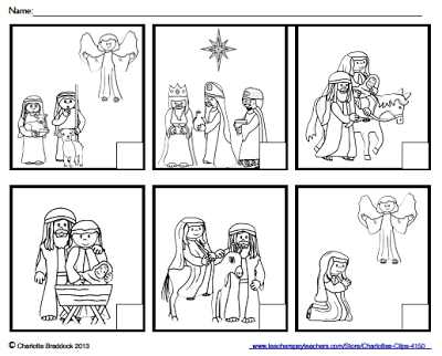 Free Nativity Sequencing Printable From Charlottes Clips In 2018