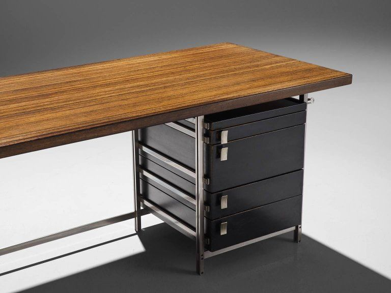 Very Rare Jules Wabbes Executive Corner Desk in Wenge For
