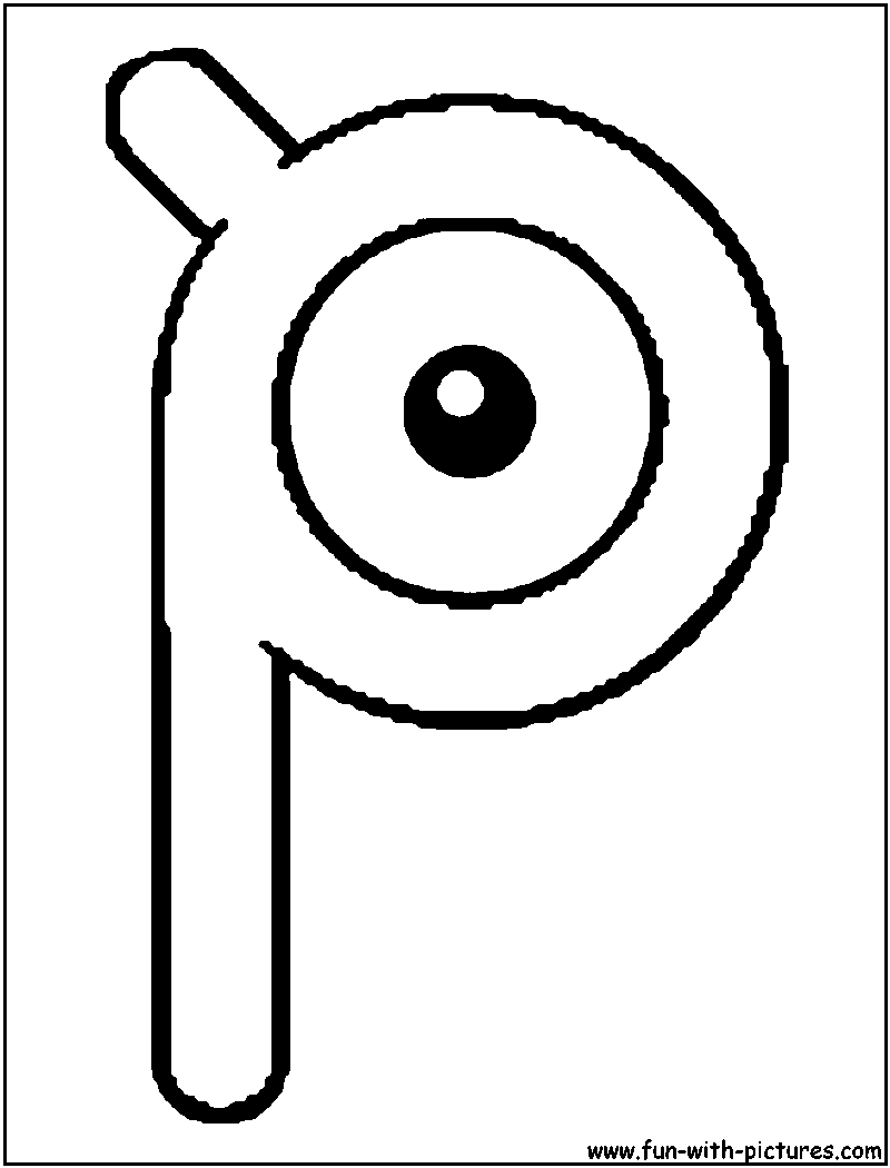 Unown P Coloring Page Coloring Pages Pokemon Coloring Pokemon Coloring Pages
